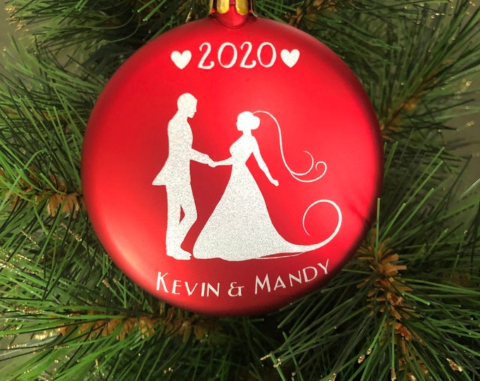 wedding ornament, bride groom personalized ornament, just married 2020, Red anniversary gift