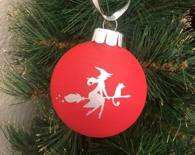 Witch ornament, happy halloween ornament, free personalization