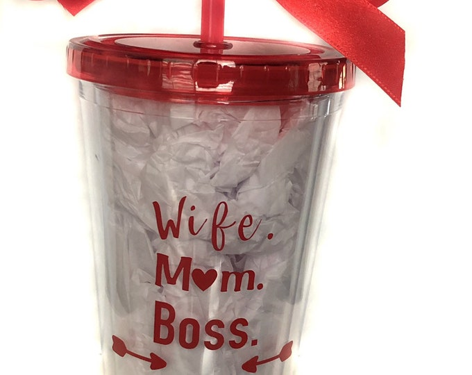 moms day gift, mom boss tumbler, bpa free personalized cup, wife gift, Mother's Day present , boss babe, step mom,