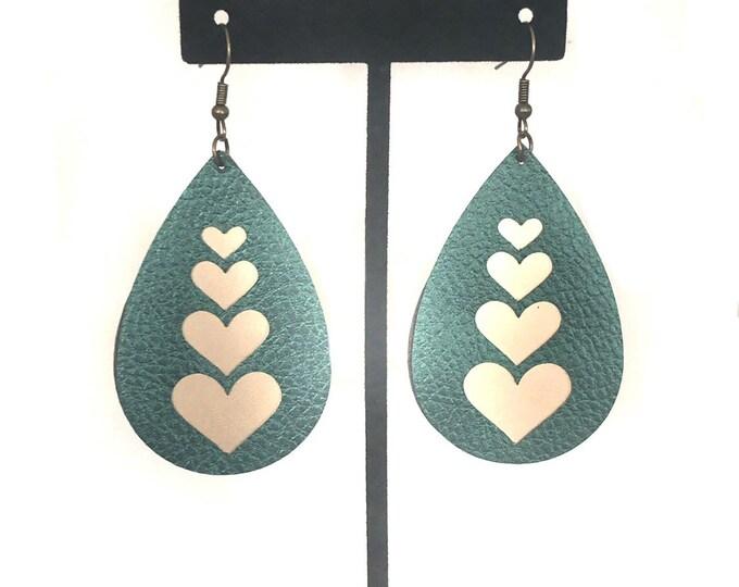 Faux leather heart earrings, teal dangle earrings, boho love jewerly, wedding teardrop earrings, teacher gift, bride gift, anniversary gift