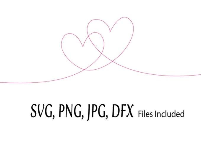 Heart Wave SVG, Valentine Digital Download, Heart Rings digital file, Hearts Together