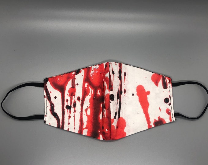 blood stain mask, blood mask, blood drip mask, serial killer mask, bloody mask, scary face mask