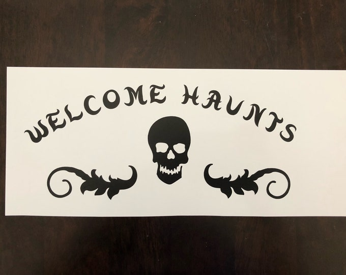 pirate skull decal, horror decal,pirate welcome, skull display, halloween display, halloween door hang, ghost door hang, pirate/wench decor