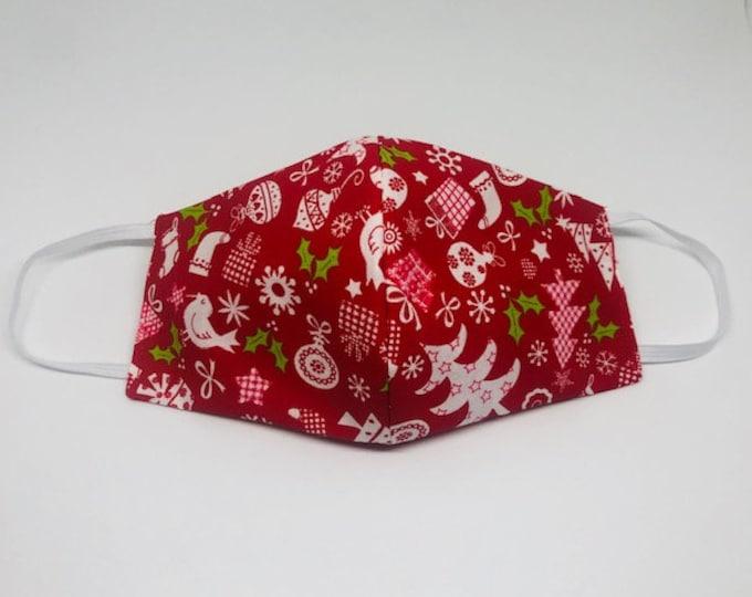 holiday face mask, red holiday mask, cheerful mask, happy mask, snowflake mask,
