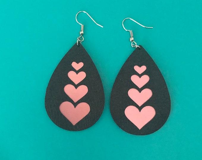 Pink/black faux leather earrings, formal wear earrings, drop earrings, womans fashion earrings, popular boho jewerly, classy heart earrings
