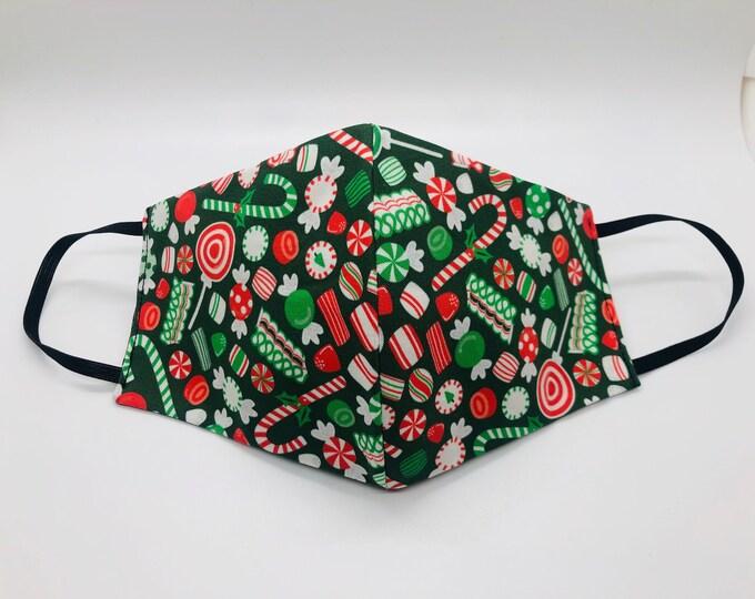 Holiday mask, Holiday face mask, candy cane mask, Christmas candy mask, red plaid mask, reversible holiday mask, candy mask, xmas mask