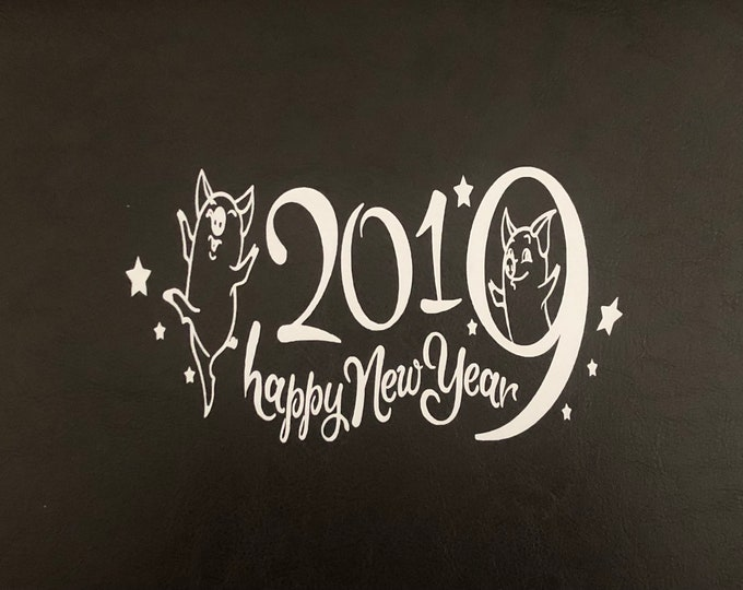 Chinese New Year window cling, Happy New Year 2019 decal, year of the pig, lantern festival, lunar new year, spring festival, pig party