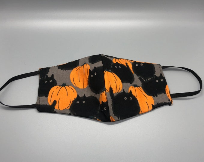 Black cat mask, cute cat mask, vet tech mask, funny cat mask, cat lover mask
