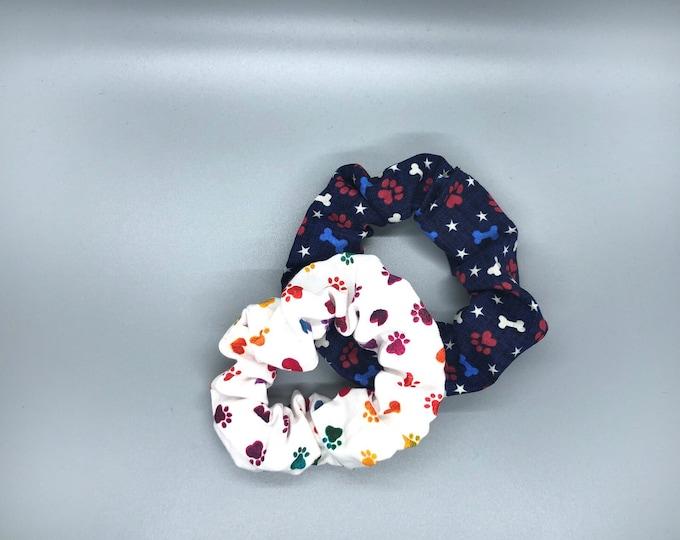 Scrunchie pack, paw scrunchie, dog scrunchies, bone scrunchie, tween gift, teen gift