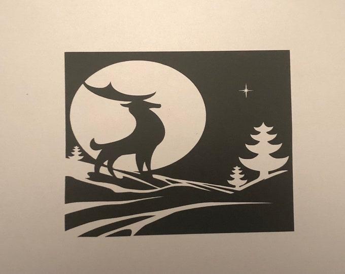 Midnight Reindeer window cling, christmas reindeer decor, snow days, North Star sticker, winter snowy display, full moon xmas