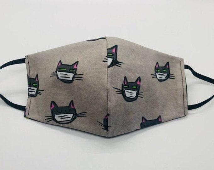 Black cat mask, cute cat mask, vet tech gift, funny cat mask, cat lover mask, vet mask, kitty mask, vet tech mask,