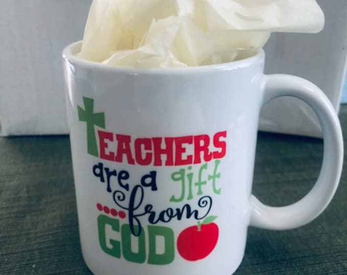 teacher appreciation mug, Christian teacher gift, religious teacher gift, teacher coffee cup, teacher week, elementary teacher