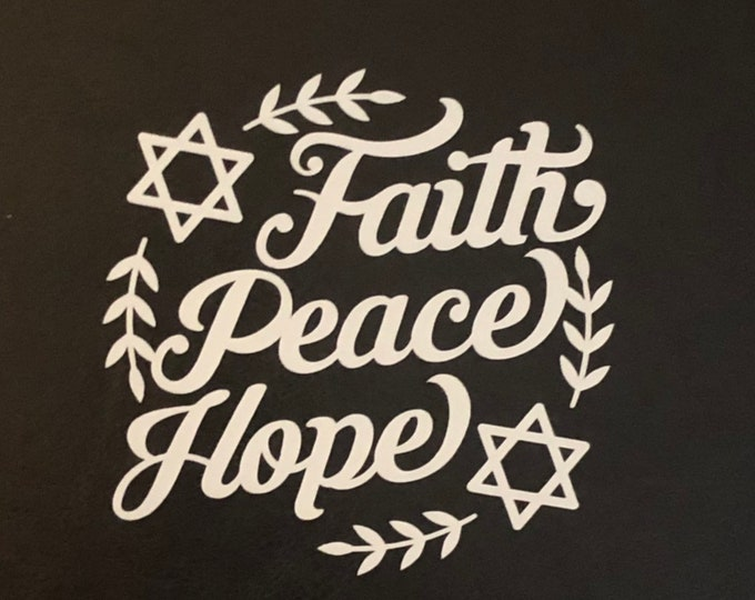 Hanukkah decor, peace faith love window cling, celebrate hanukkah, Star of David decal, diy holiday