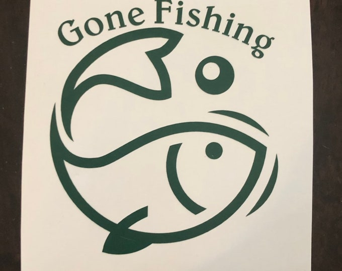 fishing sticker, fish bumper sticker, fish decal, fisherman gift, gone fishing sticker, boat sticker, ocean sticker