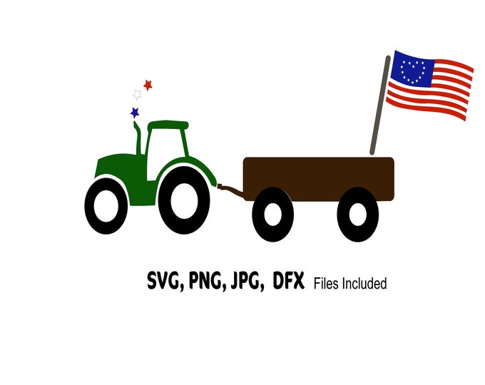 USA flag SVG, Farm SVG,  4th of July Svg, Tractor Svg, Cute flag