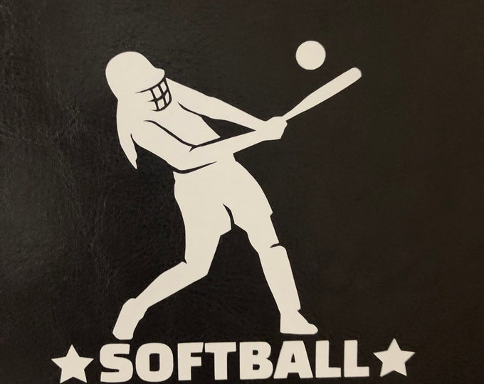 Softball player decal, personalized sports decal, batting sticker, coach gift, team mom, softball mom gift, NCAA, girl truck decal