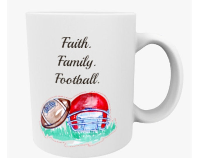 football mug, football bday gift, kansas city chiefs,  football coach gift, football fan gift, sports fan gift, cheifs kingdom
