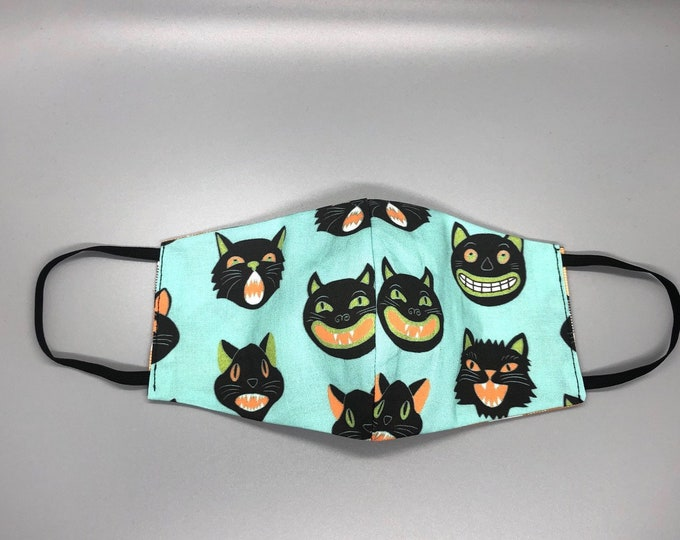 scary cat mask, funny cat mask, black cat face mask, cat lover mask, kitty mask