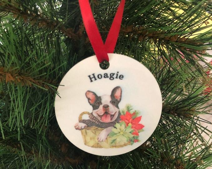 French bulldog gift, black french bulldog, frenchie ornament, bulldog ornament, new puppy ornament, french bulldog ornament