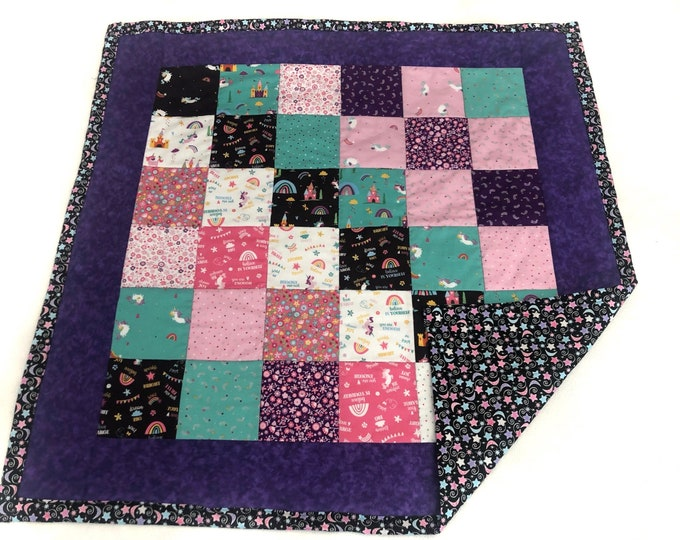 unicorn baby blanket, baby girl quilt, girl nursery bedding, princess quilt, purple baby quilt, gift for new baby, rainbow baby blanket