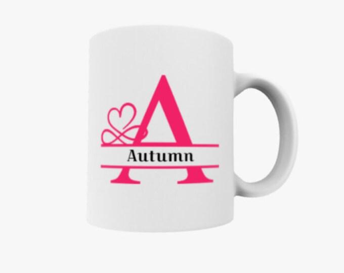 monogram mug, name on mug, initial mug, teen girl gift, dorm gift, heart name mug, family name mug, college gift