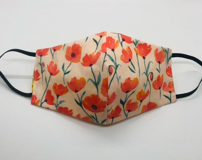 poppy flower mask, ladies face mask, floral mask, california poppy, poppy face mask, springtime mask, stylish face mask, golden poppy mask