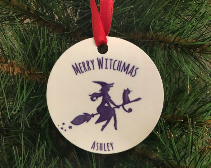 Witch Ornament, Halloween Ornament, Merry Witchmas, gothic xmas, witch decor, sexy witch, witch gift,