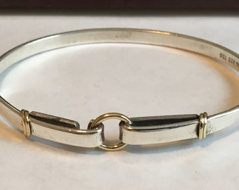 d83aec66f Tiffany & Co 925 Sterling Silver and 750 18K Gold Bangle Bracelet.....................Very  Dainty and Lightweight.