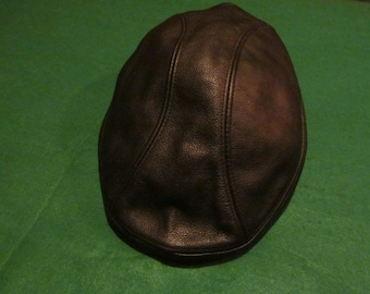 Vintage Genuine Black Leather Newsboy Cabbie Driver Hat - Size L XL - Made  in USA - Very Good Condition 514f2a9dd31e