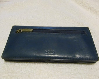 35fa7bdb9be2 Hobo International Blue Leather Khaki Lined Snap Closure Bifold Wallet ~  Very Good Condition