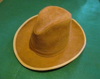 Vintage HENSCHEL Tan Suede Leather Western Cowboy Hat - Medium - USA Union  Made - Very Good Condition e6ce70d6d855