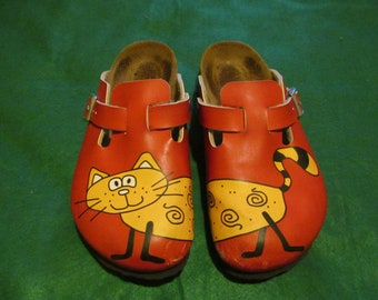 2546b502f780 Women s Birkenstock Birki s Red and Yellow Cat Clogs Mules Size 36 L5 -  Germany - Very Good Condition