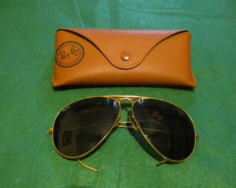 12aa54c6fe8db9 Vintage B L Ray-Ban Outdoorsman Aviator Sunglasses 62    14 with Wraparound  Arms - Made in USA - Acceptable Condition