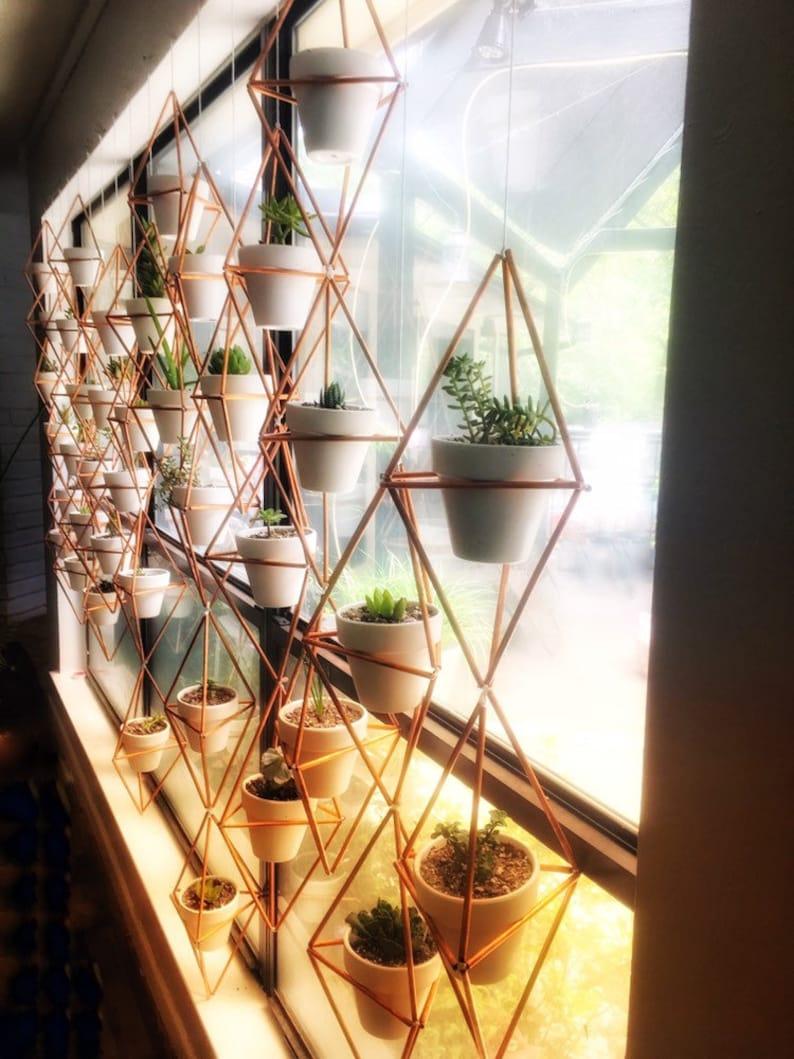 Copper Geometric Hanging Succulent Planter