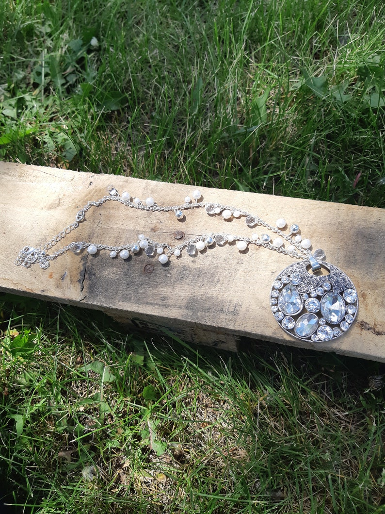 Silver Statement Necklace Western Statement Necklace Statement Necklace Cowgirl Chic Necklace- Silver Pendant Necklace -Boho