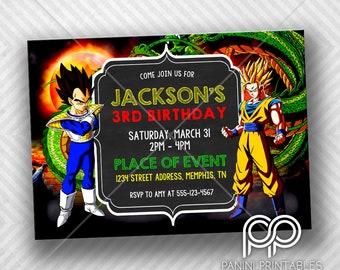 Dragon Ball Z Birthday Invitation With FREE Thank You Card Dragon