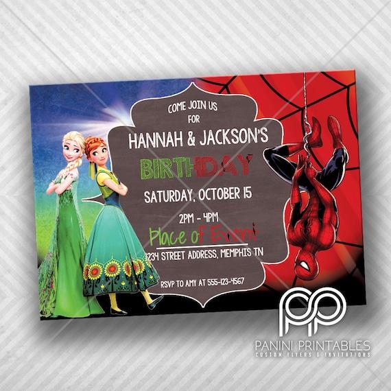Frozen And Spiderman Birthday Invitation Double Theme