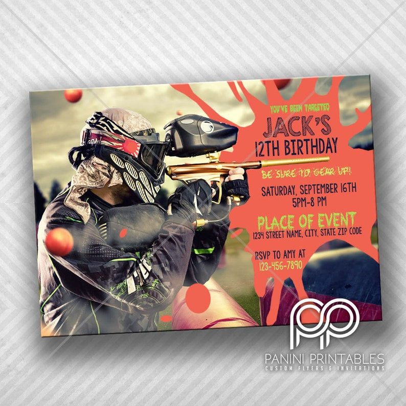 Paintball Invitation Invitation Paintball Paintball Birthday Party Partie De Paintball