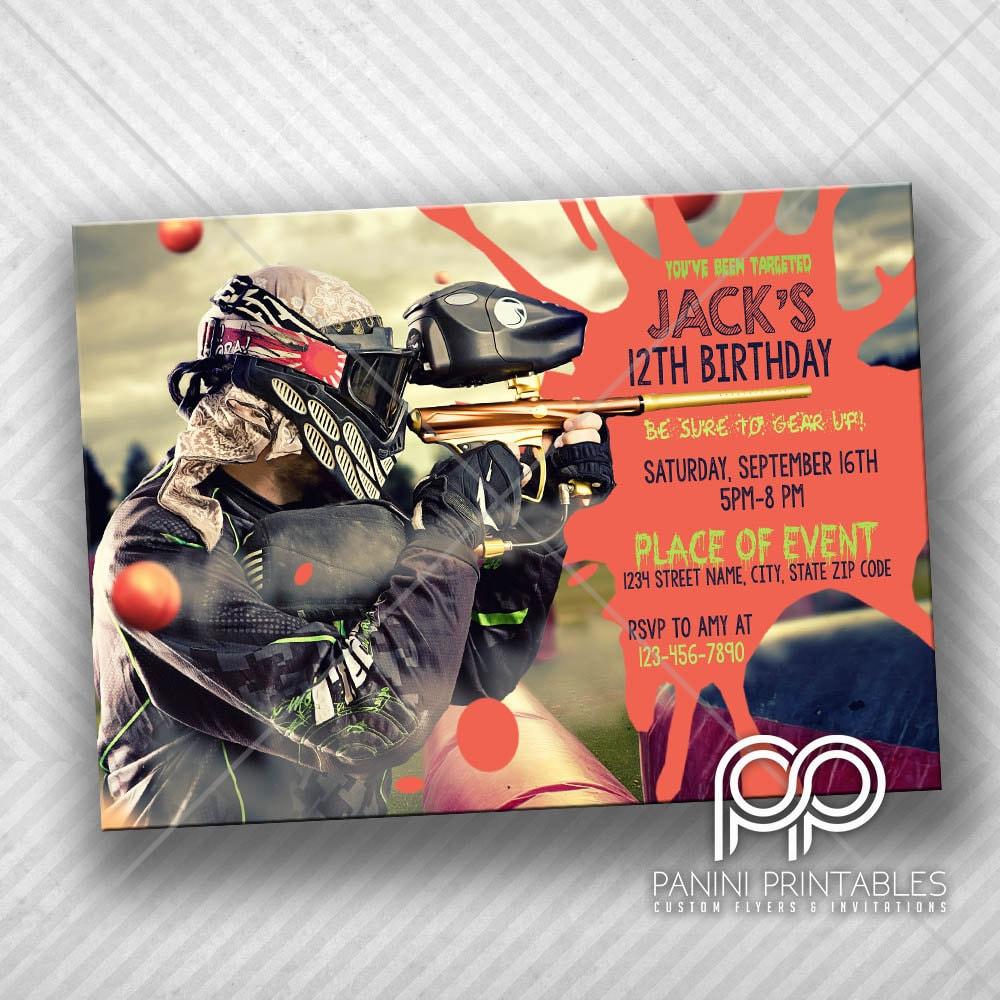 Paintball Invitation Paintball Invite Paintball Birthday | Etsy