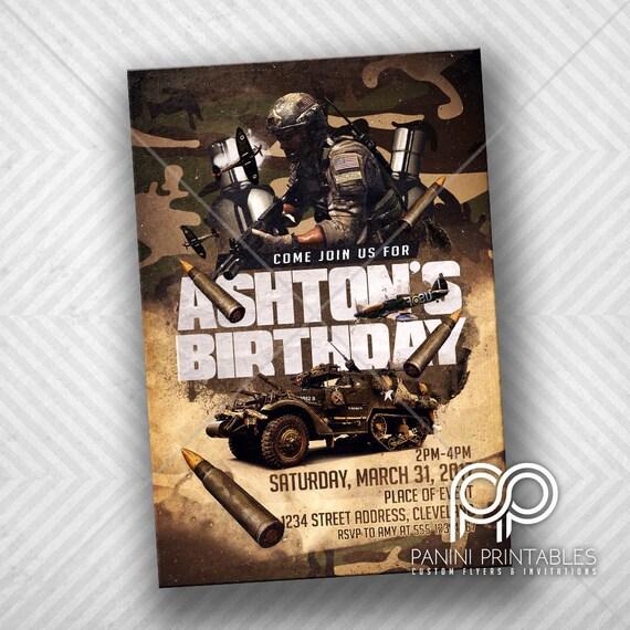 Armia Urodziny Zaproszenie Urodziny Camo Zaprosić Military Etsy