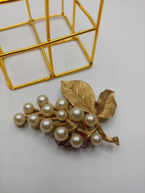 Trifari Berry Brooch with Pearl Cluster