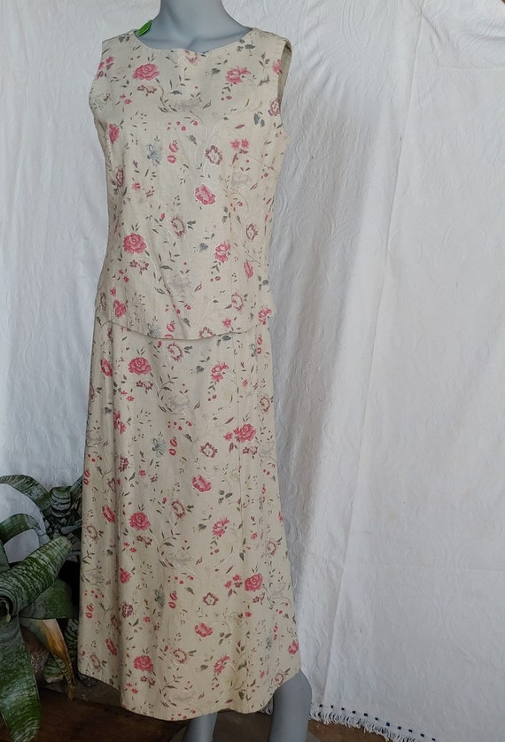 Beige Linen Floral Top and Skirt Vintage Laura As… - image 2