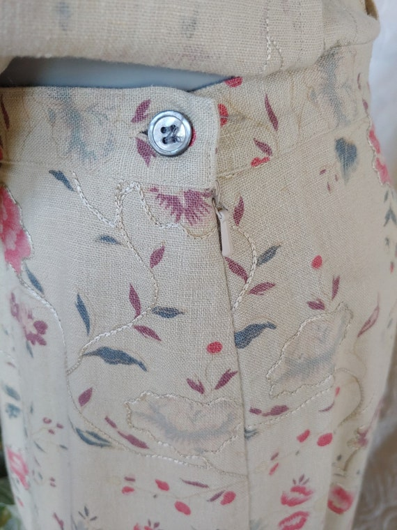 Beige Linen Floral Top and Skirt Vintage Laura As… - image 6