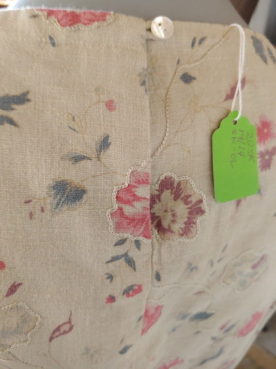 Beige Linen Floral Top and Skirt Vintage Laura As… - image 5