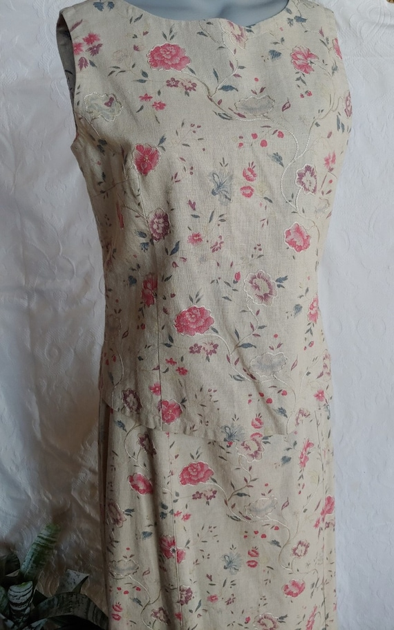 Beige Linen Floral Top and Skirt Vintage Laura As… - image 3