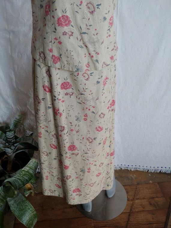 Beige Linen Floral Top and Skirt Vintage Laura As… - image 4