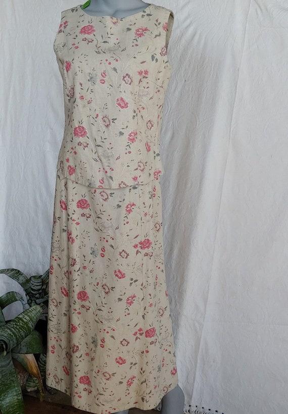 Beige Linen Floral Top and Skirt Vintage Laura Ash