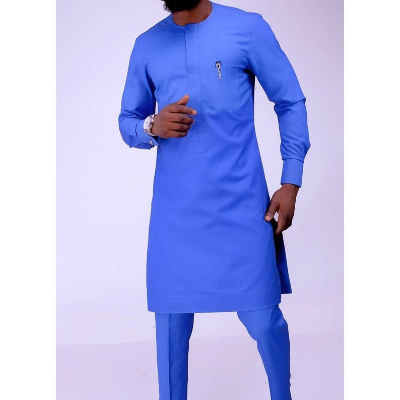 Traditional Senator long sleeve suit Dashiki suit Size Large Royal Blue Embroidered African Men Nigerian Senator suit