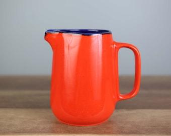 Gerz Mid Century Bold Orange Tea Coffee Pitcher W Sugar Dish and 6 Bowls Mint