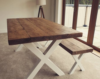 06c3b549bc Rustic Style Dining Table - Matching Bench- Chunky Reclaimed Timber - Industrial  Metal X Frame Kitchen Table And Bench Set - Handmade in Uk